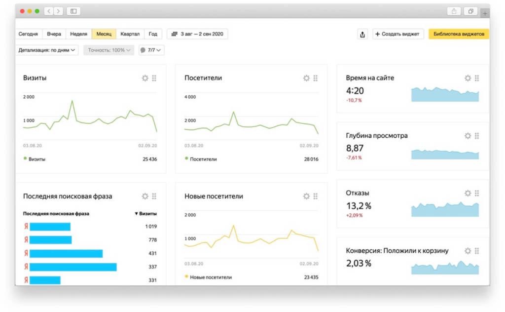 Скриншот статистики из Яндекс.Метрики
